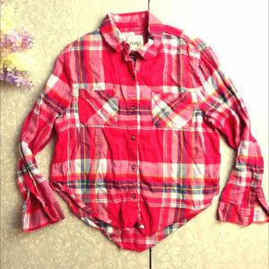 Mudd Girl's 10 Pink Plaid Flannel Long Sleeve Shir